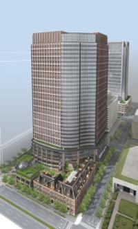 ビルの完成イメージ。右手前が三菱一号館(資料:三菱地所)