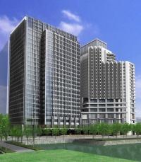 パレスホテル建て替え計画オフィス棟(左)の完成イメージ(資料:パレスホテル)