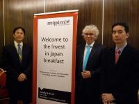 日本市場をテーマにしたセッションがMIPIMのオープニングを飾った。左から村田弘一氏(三菱商事)、Leonard Meyer氏(建造キャピタル)、松尾正俊氏(玄海キャピタルマネジメント)