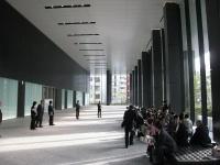 3階に設けたオフィスロビー。高さ約10m、幅約50mの大空間だ。ガラス窓の外には水盤や樹木が見える