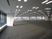 基準階面積1048坪のオフィスフロア。天井高2.8mで、高さ2.5mの開口部を確保した