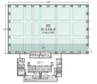 基準階平面図。専有部面積は813m2。エレベーターや階段を収めた建物のコアを南側に配置し、熱負荷を抑える(資料:日本土地建物)