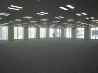 天井高2.8m。オフィスフロアのカーペットは米国の建物環境認証システムLEEDに対応した製品を使った