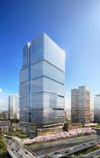 東京ガーデンテラスの完成予想図。左がオフィス・ホテル棟、右奥が住宅棟(資料:西武HD)