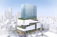 渋谷パルコ建て替え計画の完成イメージ。敷地北側からみた全体像(資料:パルコ)