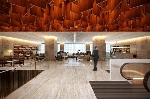 4階に3000m2のイノベーションセンターを開設し、大企業とベンチャー企業との交流を促す。片山正通氏がインテリアデザインを手がける(資料:森ビル)
