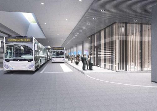 1階に配置するバスターミナル。2020年東京五輪の施設が集まる臨海部や空港などを結ぶ(資料:森ビル)