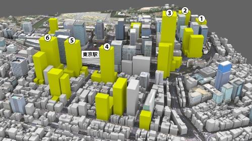 """JR東京駅周辺で計画されている主な大型再開発計画。千代田区丸の内・大手町、中央区八重洲・京橋・日本橋の主要オフィスエリアで2016年以降に完成予定の主なビルをCG(コンピューターグラフィックス)で示した。一部の計画は、日経不動産マーケット情報の推定に基づく(CG画像提供:<a href=""""http://www.cadcenter.co.jp/"""" target=""""_blank"""">キャドセンター</a>)"""